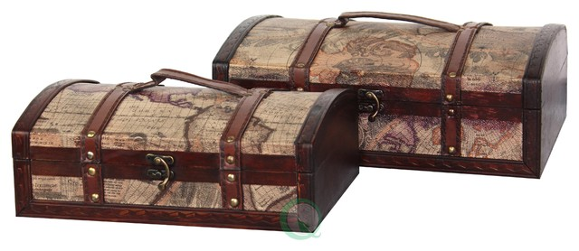 Old world map treasure chest set of 2 traditional decorative old world map treasure chest set of 2 gumiabroncs Gallery
