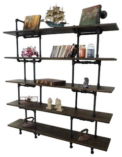 """Industrial 71"""" Wall Mounted Large Storage Bookcase, Metal, Reclaimed Wood, Black"""