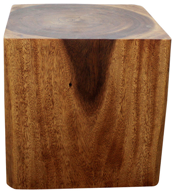 Well-liked Sustainable Monkey Pod Wood Cube End Table - Farmhouse - Side  PO58