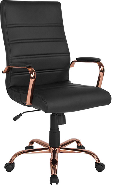 Flash Furniture Chrome Executive Chair, Black and Rose Gold