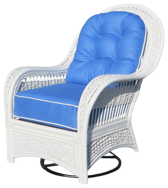 Regatta Swivel Rocker in White, San Remo Fabric by Spice Islands Wicker