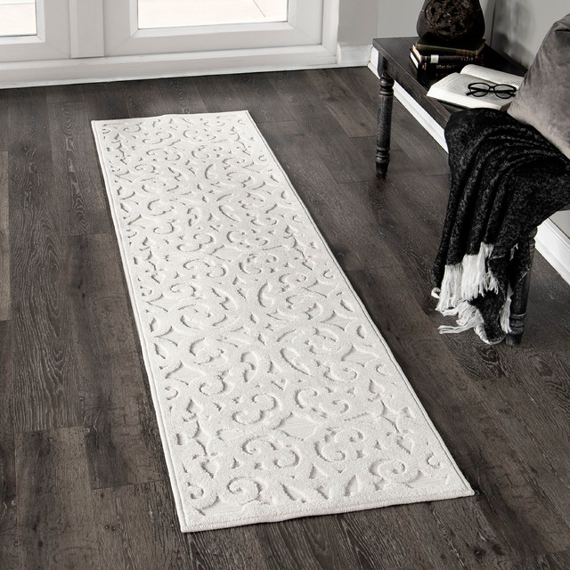 """Orian Boucle Indoor/Outdoor Seaborn High-Low Area Rug, Ivory, 1'11""""x7'6"""""""