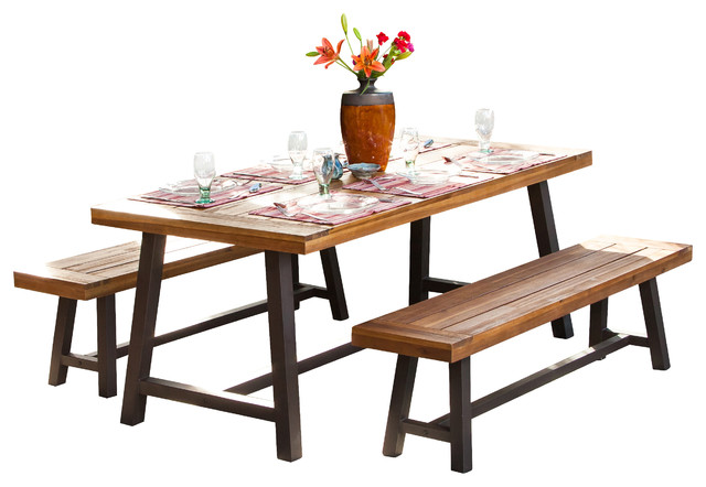 Bowman Picnic Table Set Farmhouse Outdoor Dining Sets By GDFStudio - Wooden picnic table without benches