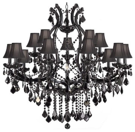 Jet Black Chandelier Crystal With Black Shades - Traditional ...