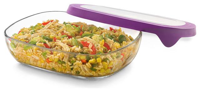 Serve It 3-Piece, 5.75-Cup Wide Rectangle Glass Serveware Set With Purple Lids.