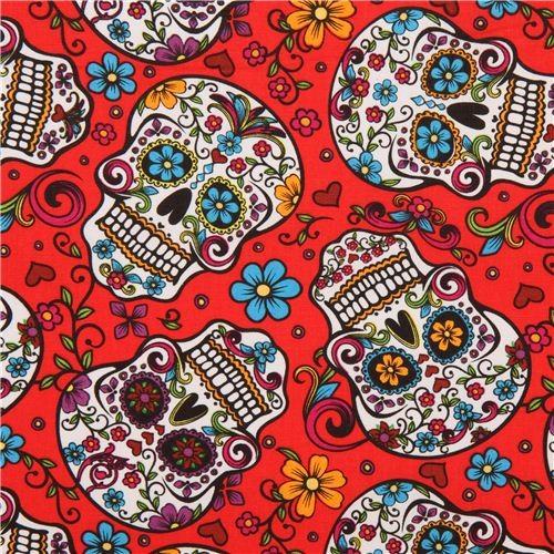red flower skull fabric Folkloric Skulls USA