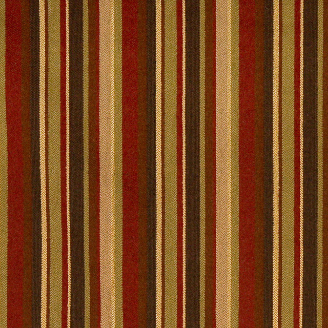 Red Green And Brown Stripe Woven Upholstery Fabric By The