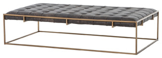 Oxford Tufted Black Leather Ottoman Coffee Table, Large