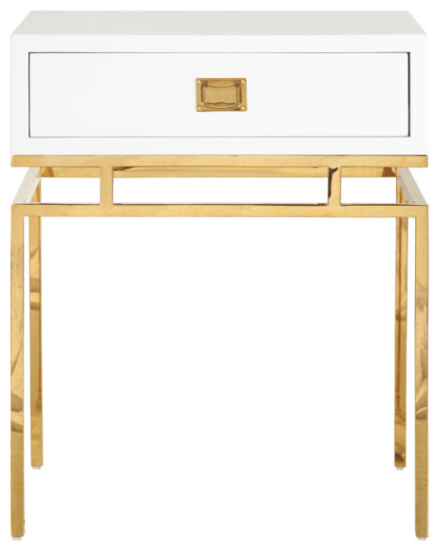Worlds Away - Worlds Away Cayson Lacquer, Iron One Drawer Side Table - View in Your Room! | Houzz