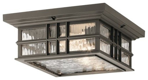 Kichler Beacon Square 2 Light 12 Outdoor Flush Mount Ceiling Fixture.