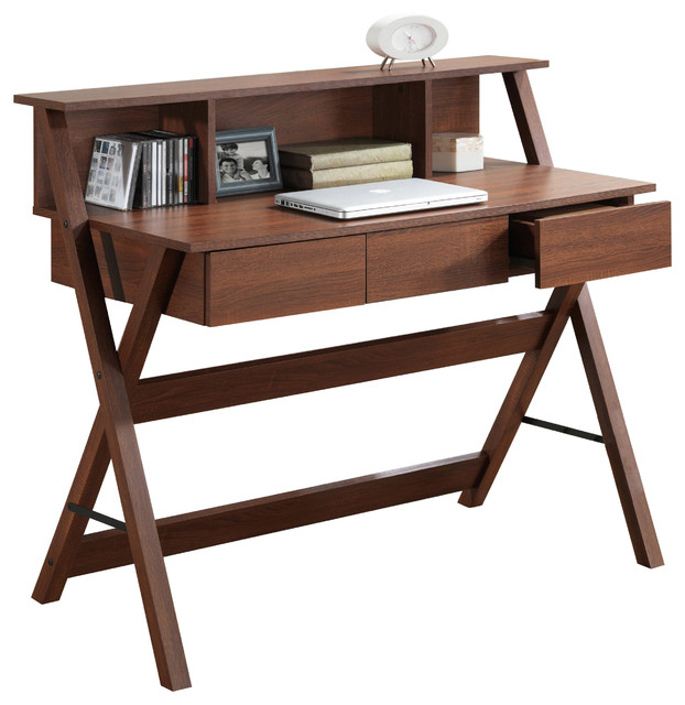 Corliving Folio Warm Oak Three Drawer Desk With Low Profile Hutch Transitional Desks And