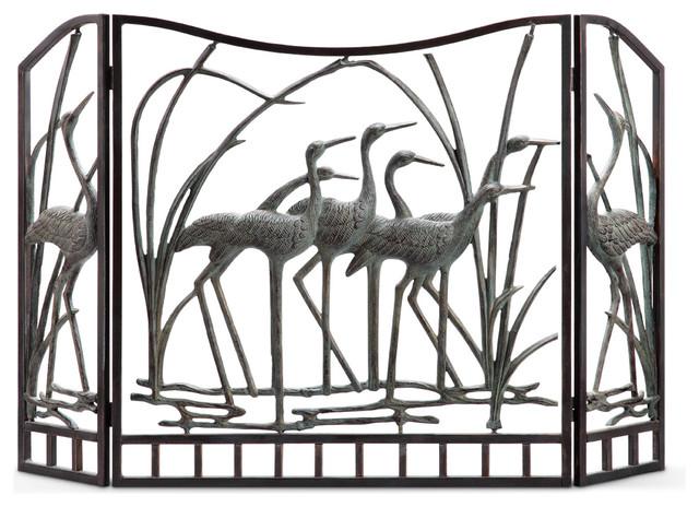 crane flock fireplace screen contemporary fireplace screens by spi rh houzz com