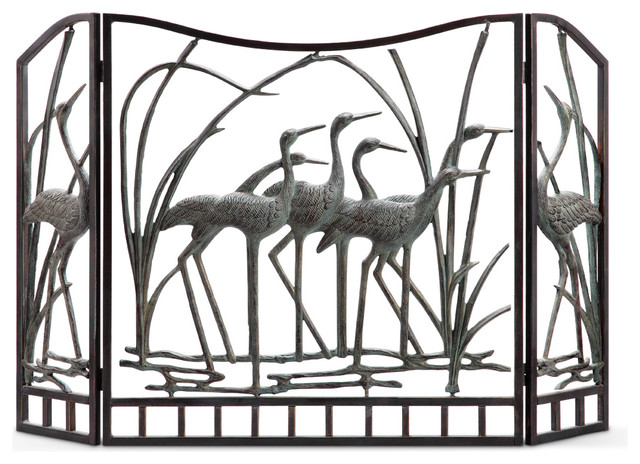 Crane Flock Fireplace Screen - Fireplace Screens - by SPI