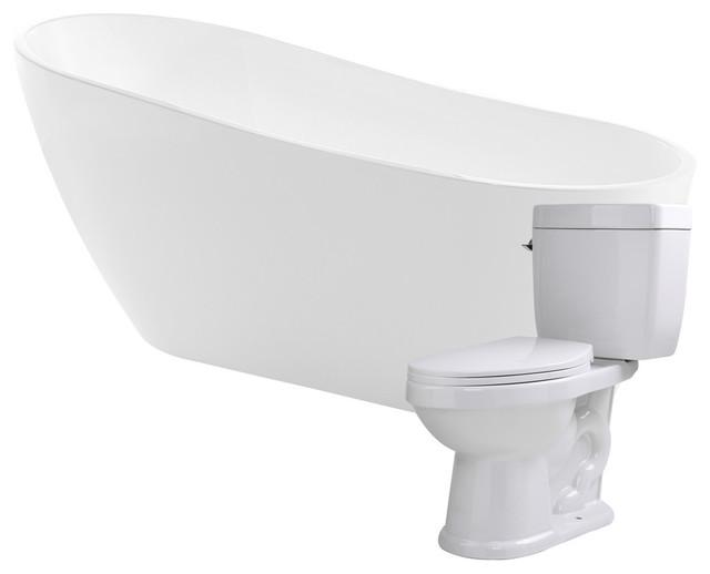 """ANZZI 67"""" White Acrylic Soaking Bathtub With 1.28 GPF Toilet"""