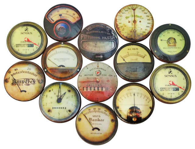 Industrial Gauge Oversized Cabinet Knobs, 12 Piece Set Transitional Cabinet  And