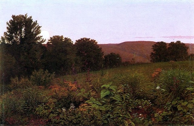 William Trost Richards Sunset On The Meadow Canvas Print