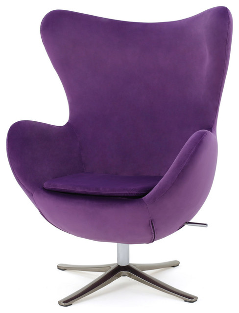 GDF Studio Glendon Retro 70u0027s New Velvet Swivel Chair, Eggplant