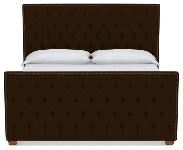 Huntley Tufted Upholstered Bed, Dark Chocolate, Full.