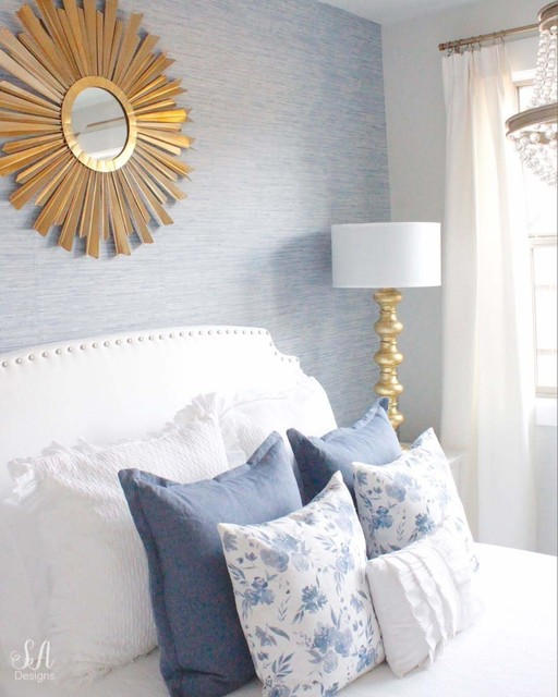 Ocean Blue Faux Grcloth Wallpaper Contemporary By D Marie Interiors