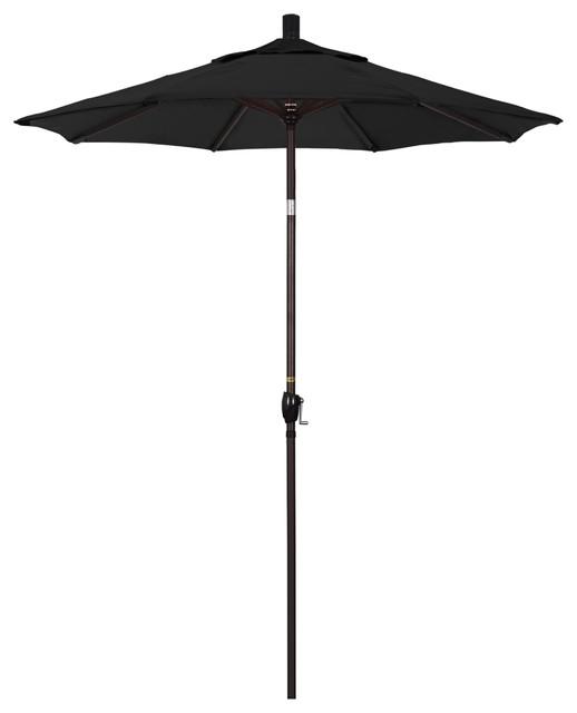 6&x27; Aluminum Umbrella With Push Tilt, Bronze, Sunbrella, Black.