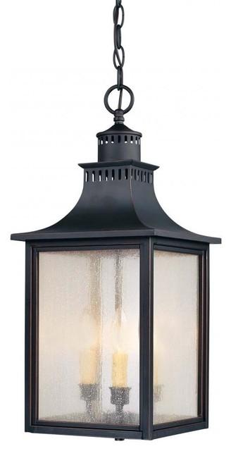 Three Light Slate Pale Cream Seeded Glass Hanging Lantern