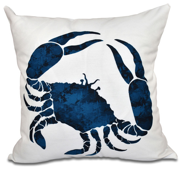 E by Design Crab, Animal Print Outdoor Pillow - Outdoor Cushions And Pillows Houzz