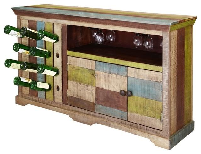 Wondrous Hamler Modern Rustic Mango Wood 2 Sided Wine Bar Cabinet Home Interior And Landscaping Transignezvosmurscom