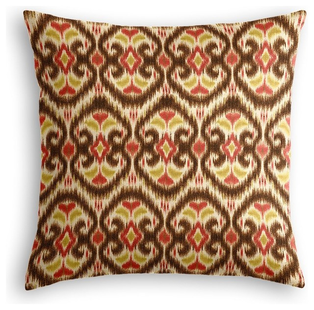 red and brown ikat throw pillow mediterranean decorative pillows by loom decor. Black Bedroom Furniture Sets. Home Design Ideas