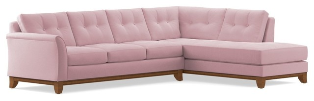 Marco 2-Piece Sectional Sleeper Sofa, Blush Velvet, Chaise On Right.