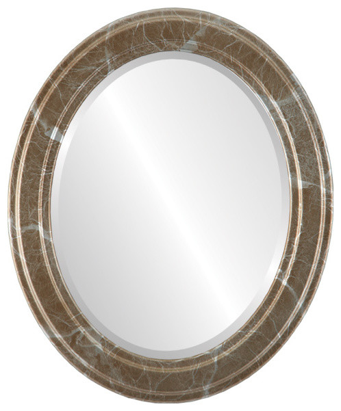 Wright Framed Oval Mirror In Champagne Silver Contemporary - Contemporary oval mirrors