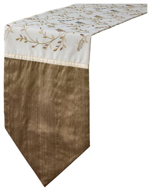 Elegant Bachman emboidered bronze ivory silk table runner - ChristmasTablescapeDecor.com
