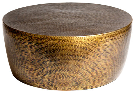 Global Views Izmir Hammered Cocktail Table Antique Brass Small Contemporary Coffee Tables