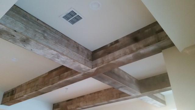 Beam Wrapping With Reclaimed Long Leaf Pine Wood Modern