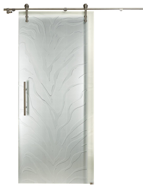 European sliding glass barn door opaque frosted design contemporary interior doors by for Glass barn door style interior doors