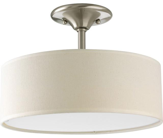 2-Light Semi-Flush, Brushed Nickel.
