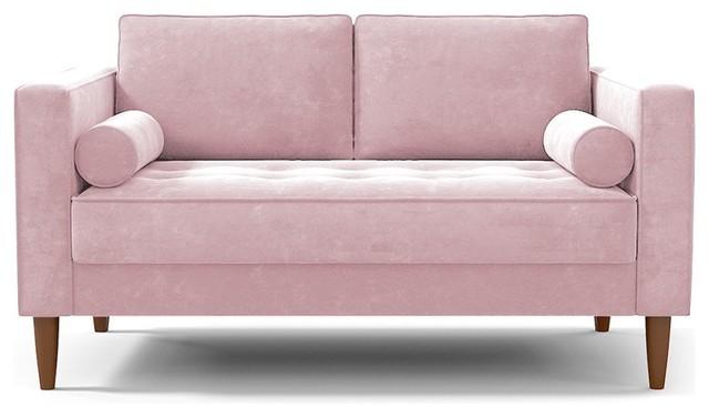 "Delilah Apartment Size Sofa, Blush Velvet, 60""x37""28""."