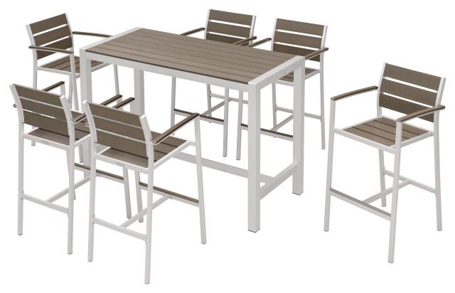 Outdoor Patio Furniture Dining Bar Table Set, 7-Piece Set
