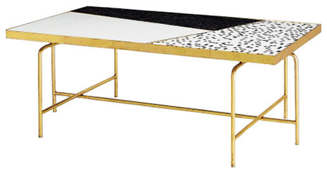 Luxe Midcentury Mosaic Black White Coffee Table Gold Color Block Tiled