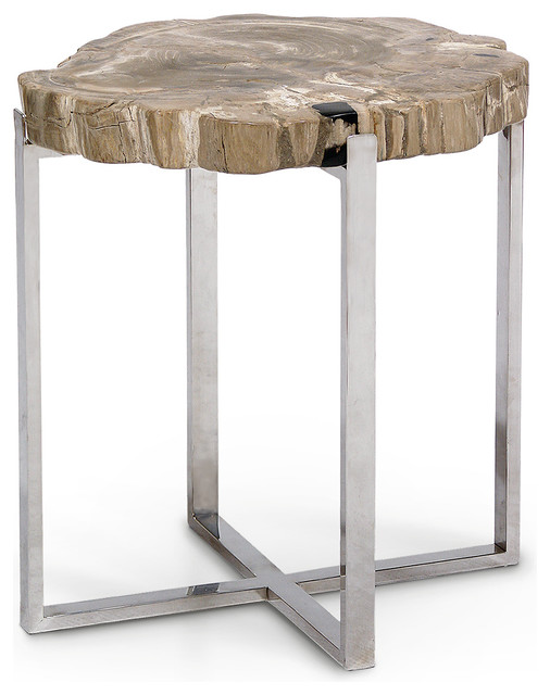 Phenomenal Palecek Sliced Petrified Wood Accent Table Large Gmtry Best Dining Table And Chair Ideas Images Gmtryco
