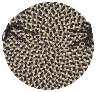 "Braided Pattern-Made Chair Pad, Black, Round 15"" - Set of 4"