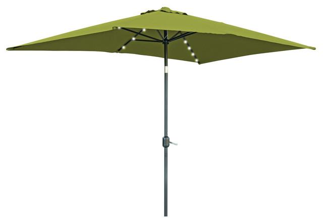 Rectangular Solar Ed Led Lighted Patio Umbrella 10 X6 5 Light