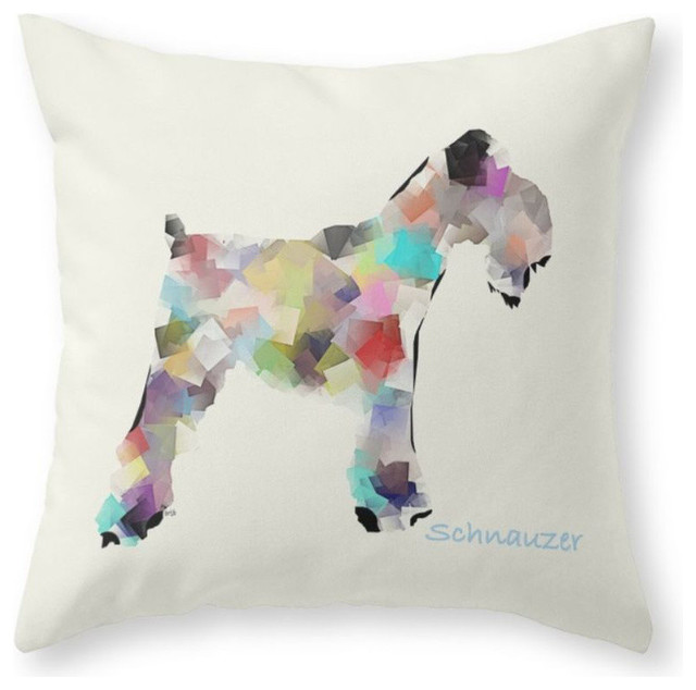 "Schnauzer Modern Pillow Cover, 20""x20"" With Insert"
