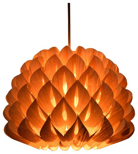 Wood Dahlia Pendant Lamp Chinese Ash Veneer