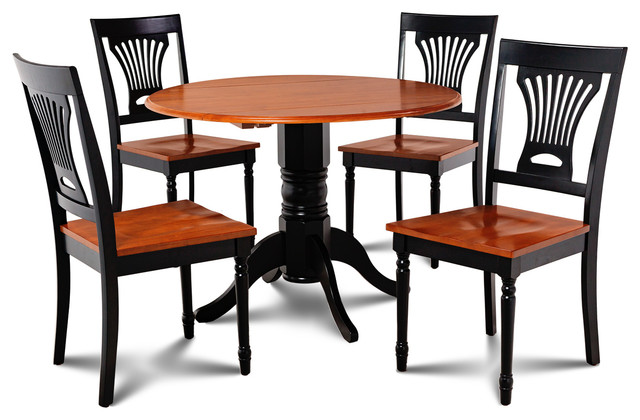 Burlington 5-Piece Set-Kitchen Table, 4 Dining Chairs, Black/Cherry