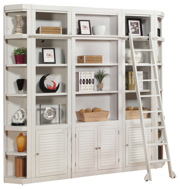 Boca 5 Piece Library Bookcase Wall Unit Cottage White