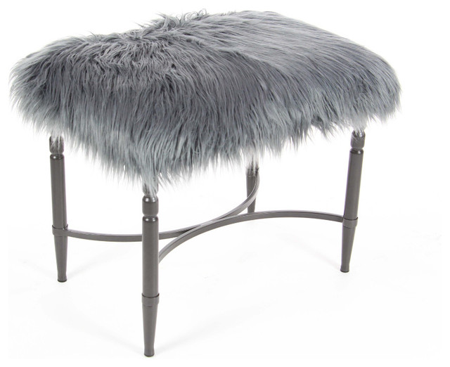 Gray Metal Faux Fur Stool - Contemporary - Vanity Stools And ...