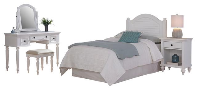 Bermuda 3-Piece Bedroom Set, Brushed White, Twin.
