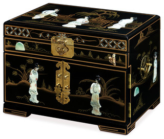 Jewelry Box With Mother of Pearl Maidens on Black Lacquer Asian