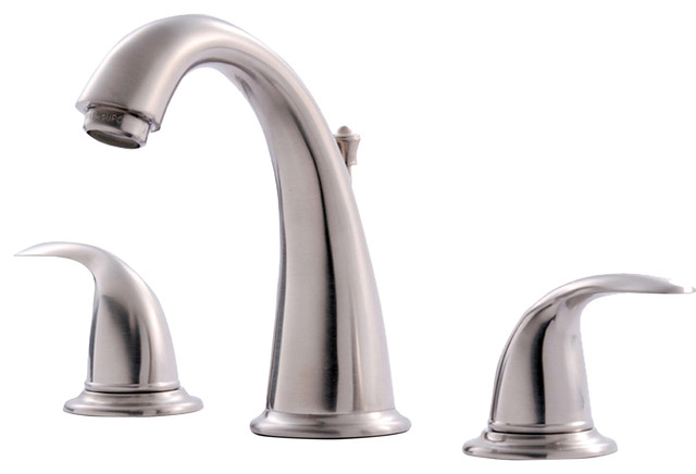 13 4552 Brushed Nickel 2 Handle Lavatory Faucet Contemporary Bathroom Sink Faucets By