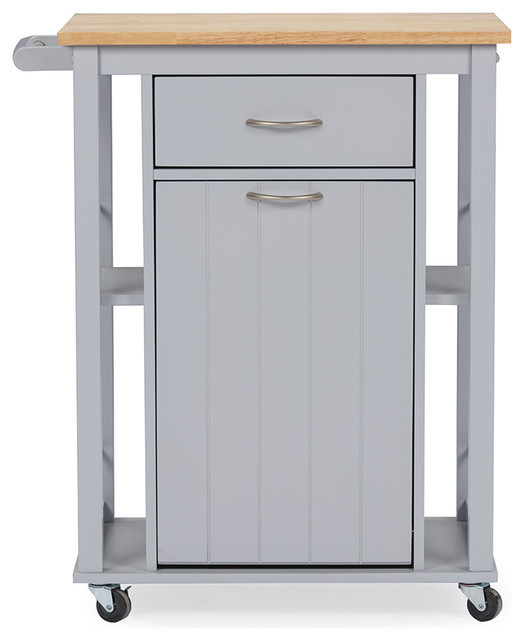 Yonkers Contemporary Kitchen Cart With Wood Top, Light Gray